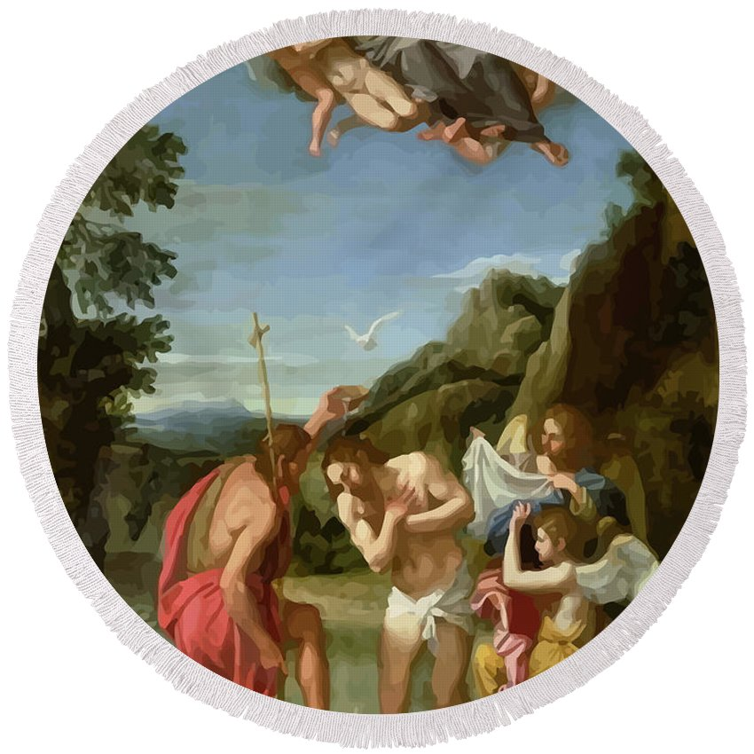 Retouched Round Beach Towel featuring the digital art The Baptism Of Christ - Francesco Albani 1660 by Don Kuing