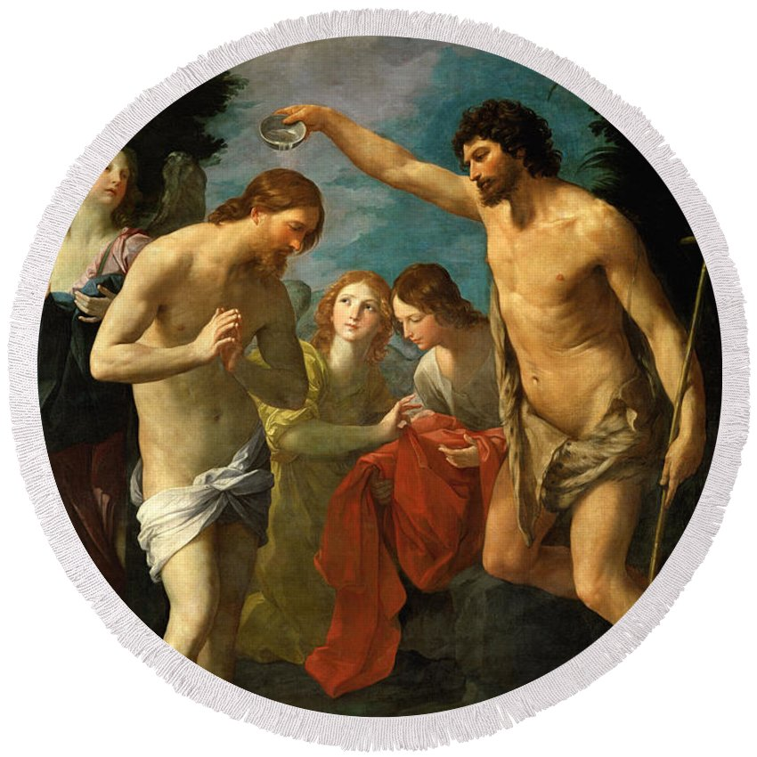 Guido Reni Round Beach Towel featuring the painting The Baptism Of Christ by Guido Reni