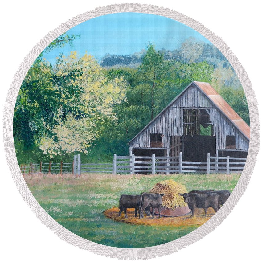 Pastoral Scene. The Barn Round Beach Towel featuring the painting The Barn by Alicia Fowler