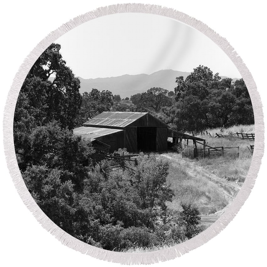 Rustic Round Beach Towel featuring the photograph The Barn by Richard J Cassato