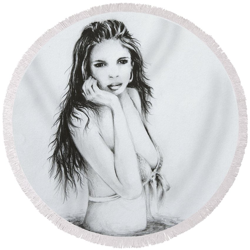 Figure Round Beach Towel featuring the drawing the Bather by Rachel Christine Nowicki