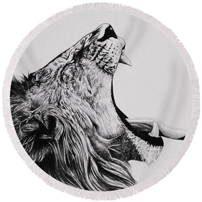 Lion Round Beach Towel featuring the drawing The Battle by Carlos Velasquez Art
