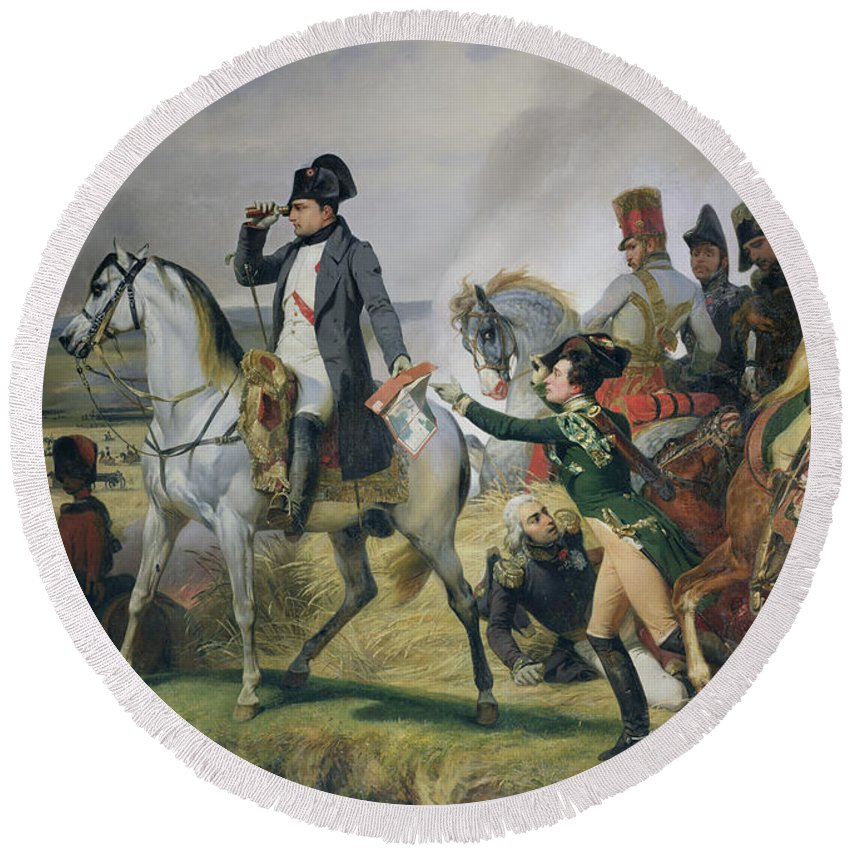 Telescope Round Beach Towel featuring the photograph The Battle Of Wagram, 6th July 1809, 1836 Oil On Canvas by Emile Jean Horace Vernet