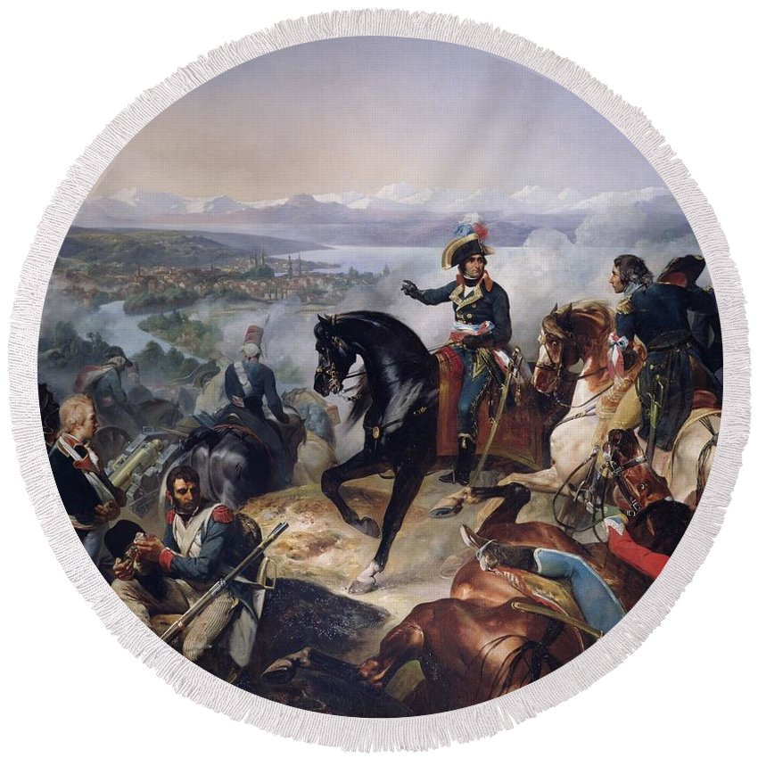 Cannon Round Beach Towel featuring the photograph The Battle Of Zurich, 25th September 1799, 1837 Oil On Canvas by Francois Bouchot