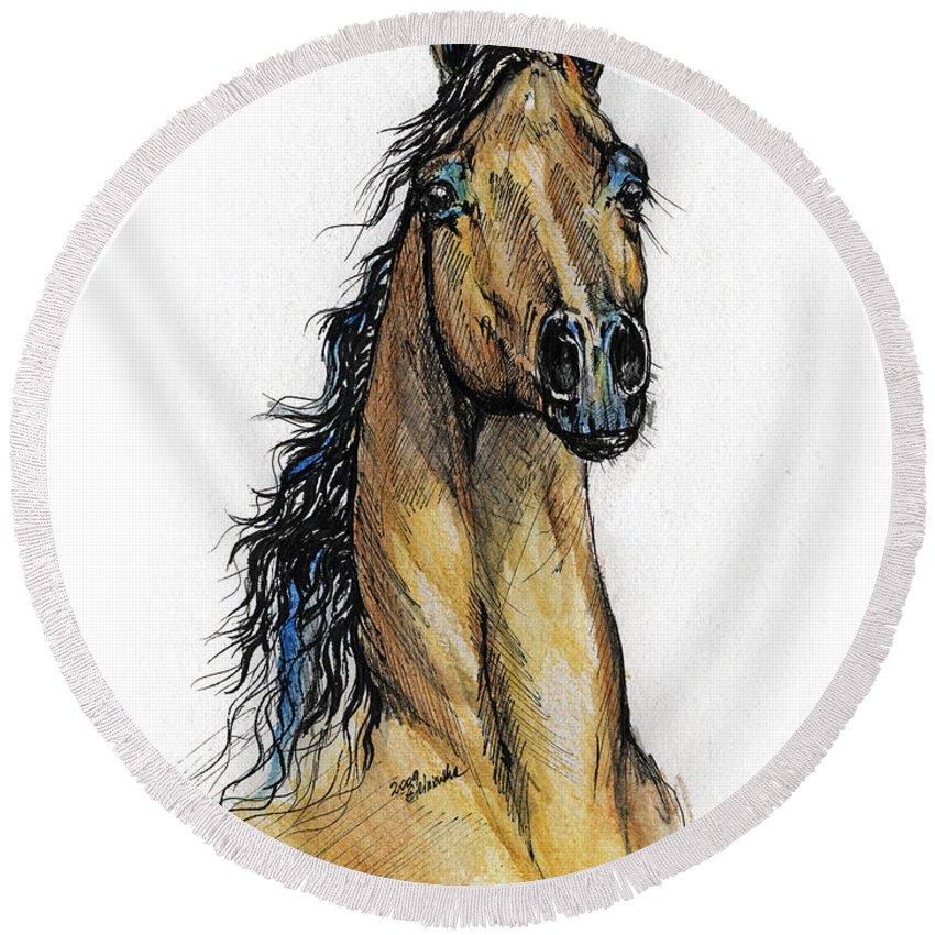 Arab Round Beach Towel featuring the painting The Bay Arabian Horse 13 by Angel Ciesniarska