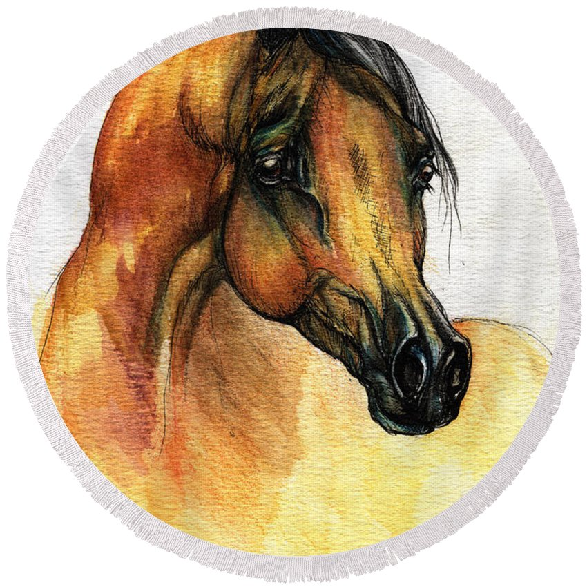 Watercolor Round Beach Towel featuring the painting The Bay Arabian Horse 14 by Angel Ciesniarska
