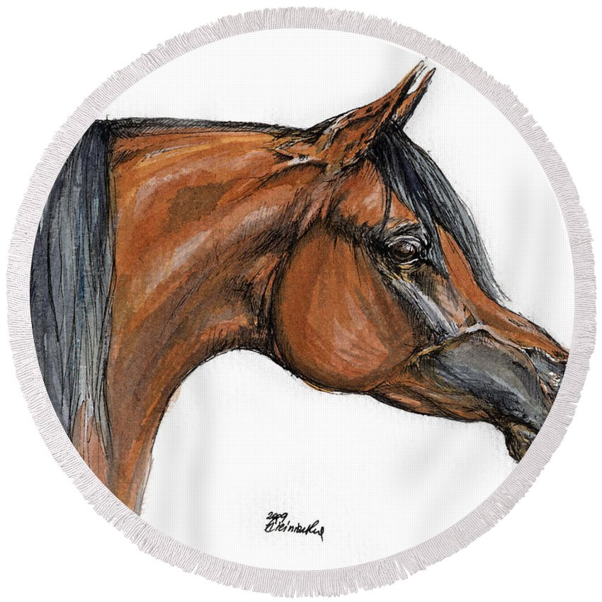 Arabian Round Beach Towel featuring the painting The Bay Arabian Horse 18 by Angel Tarantella