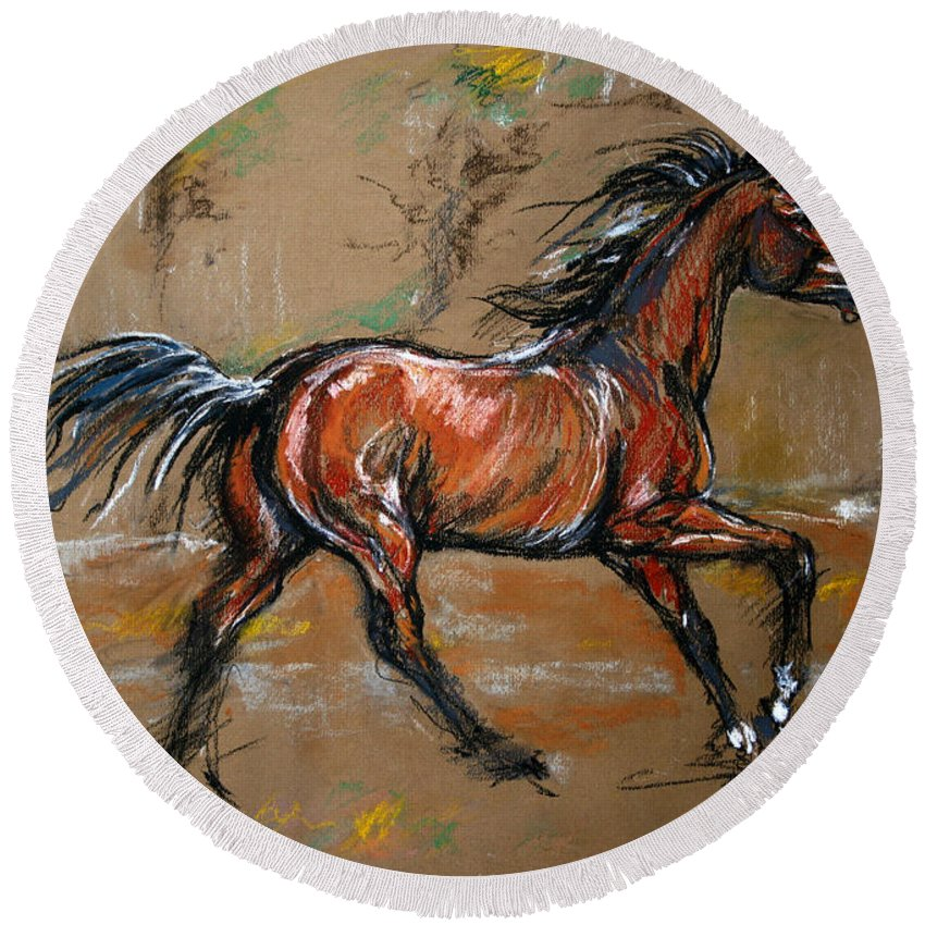 Horse Round Beach Towel featuring the drawing The Bay Horse by Angel Ciesniarska
