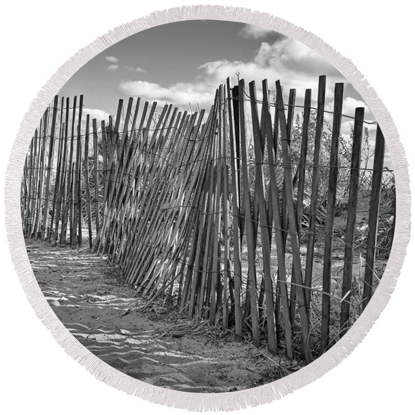 Beach Round Beach Towel featuring the photograph The Beach Fence by Scott Norris
