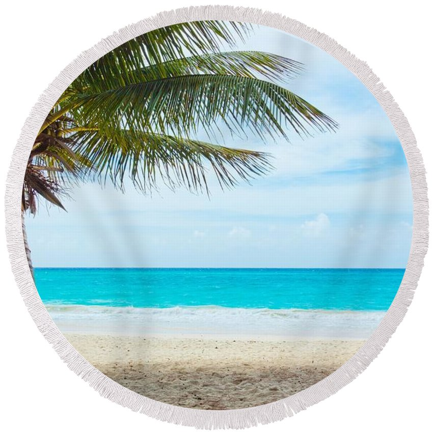 Clearing Round Beach Towel featuring the photograph The Beach by FL collection