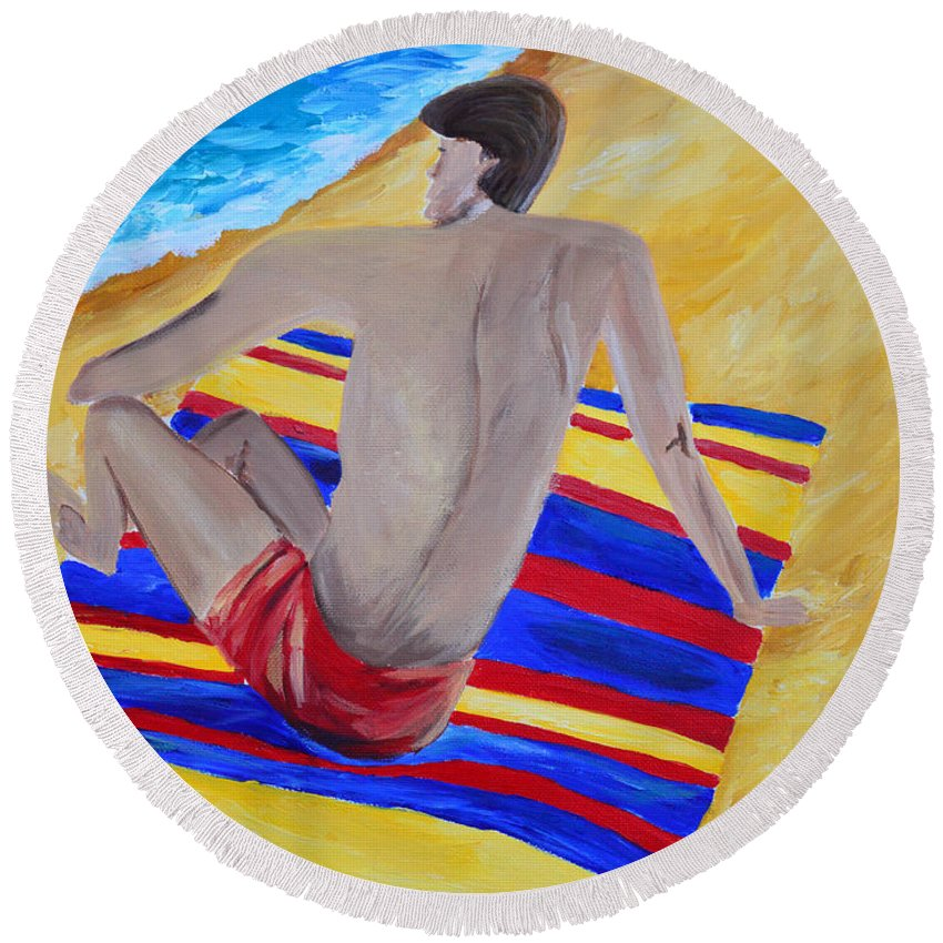 Man Round Beach Towel featuring the painting The Beach Towel by Donna Blackhall