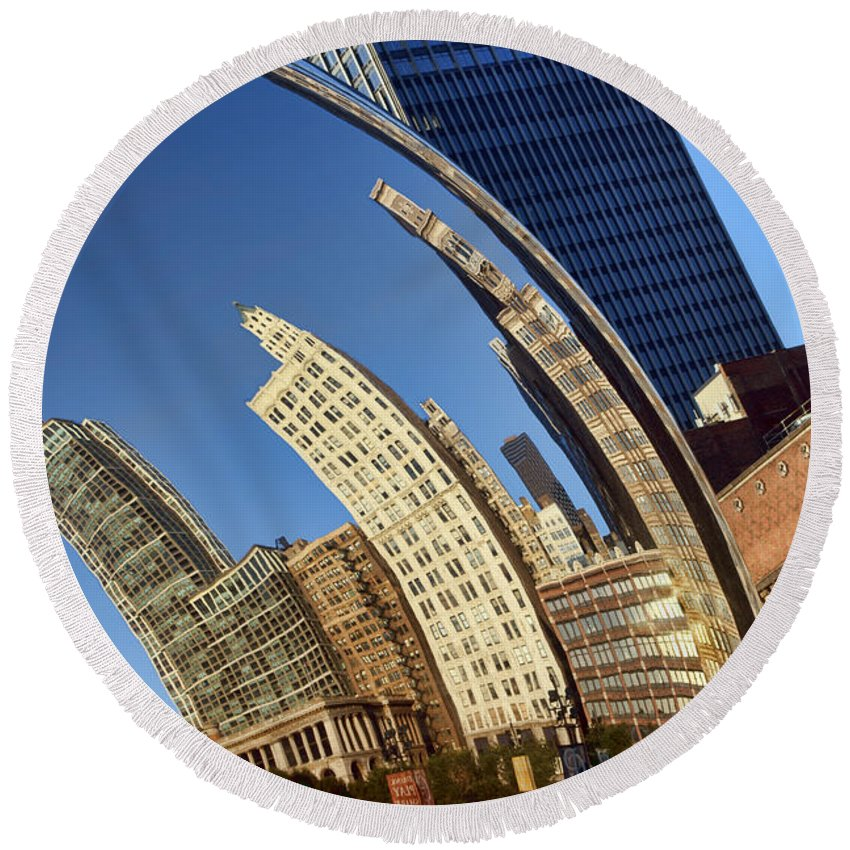 Chicago Round Beach Towel featuring the photograph The Bean - 1 - Cloud Gate - Chicago by Nikolyn McDonald