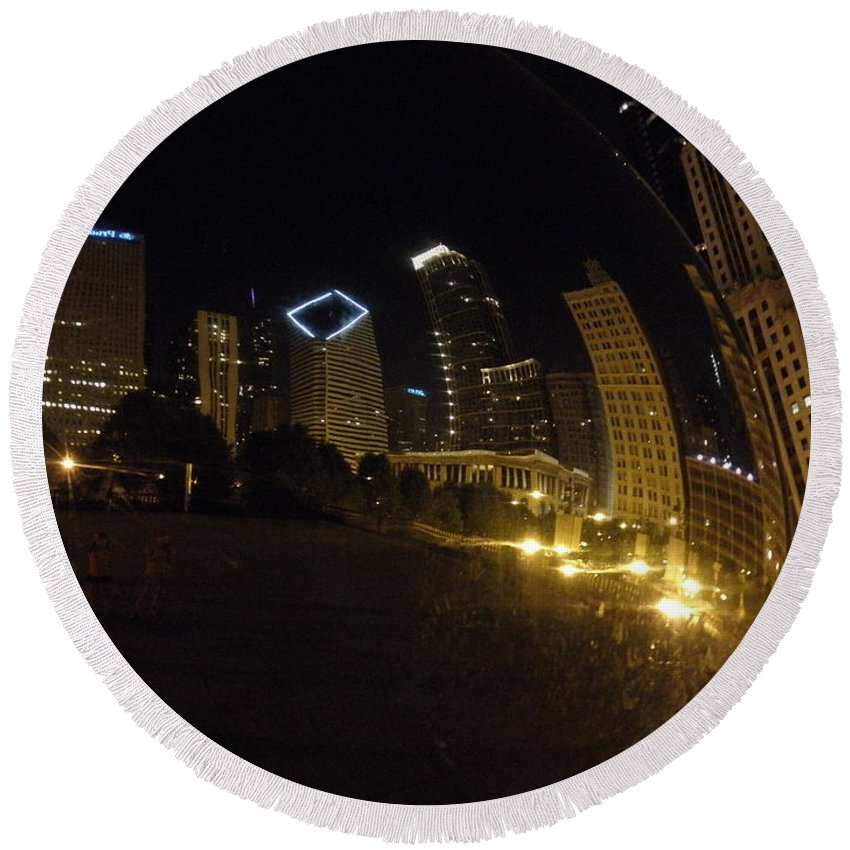 Chicago Round Beach Towel featuring the photograph The Bean by Tiffany Erdman