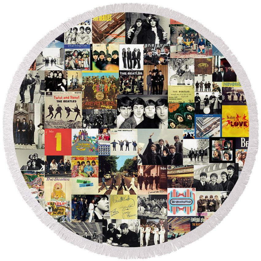 The Beatles Round Beach Towel featuring the digital art The Beatles Collage by Zapista OU