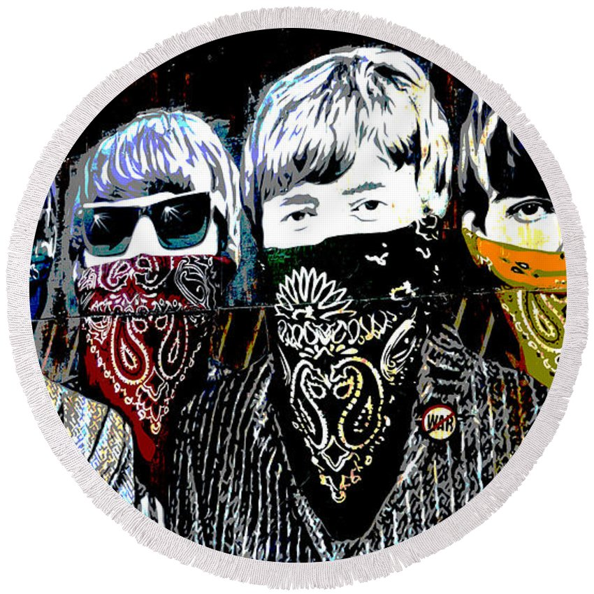Banksy Round Beach Towel featuring the photograph The Beatles wearing face masks by RicardMN Photography