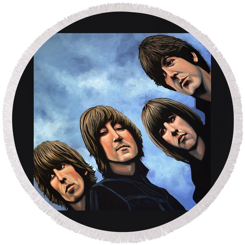 The Beatles Round Beach Towel featuring the painting The Beatles Rubber Soul by Paul Meijering