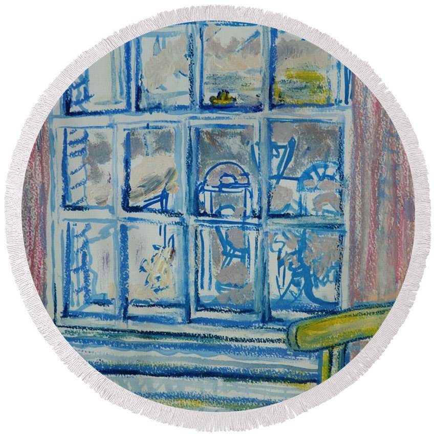 Interior Round Beach Towel featuring the photograph The Bedroom Window Oil & Pastel On Paper by Brenda Brin Booker