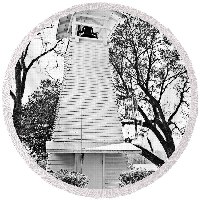 Black&white Round Beach Towel featuring the photograph The Bell Tower by Scott Pellegrin
