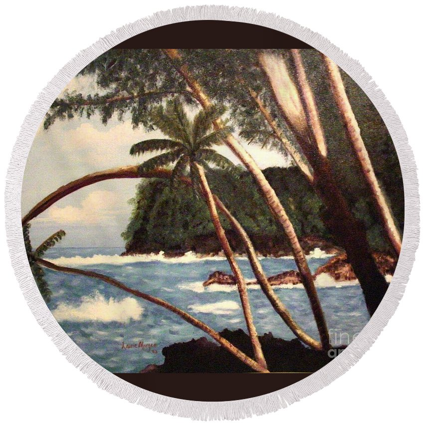 Hawaii Round Beach Towel featuring the painting The Big Island by Laurie Morgan