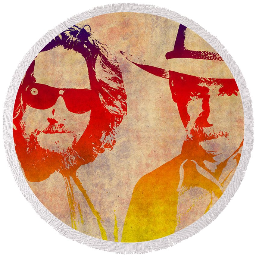 Jeff Bridges Round Beach Towel featuring the photograph The Big Lebowski by Chris Smith