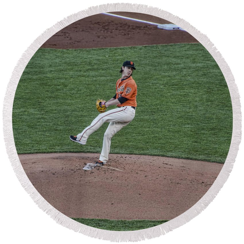Baseball Round Beach Towel featuring the photograph The Big Pitcher by Judy Wolinsky