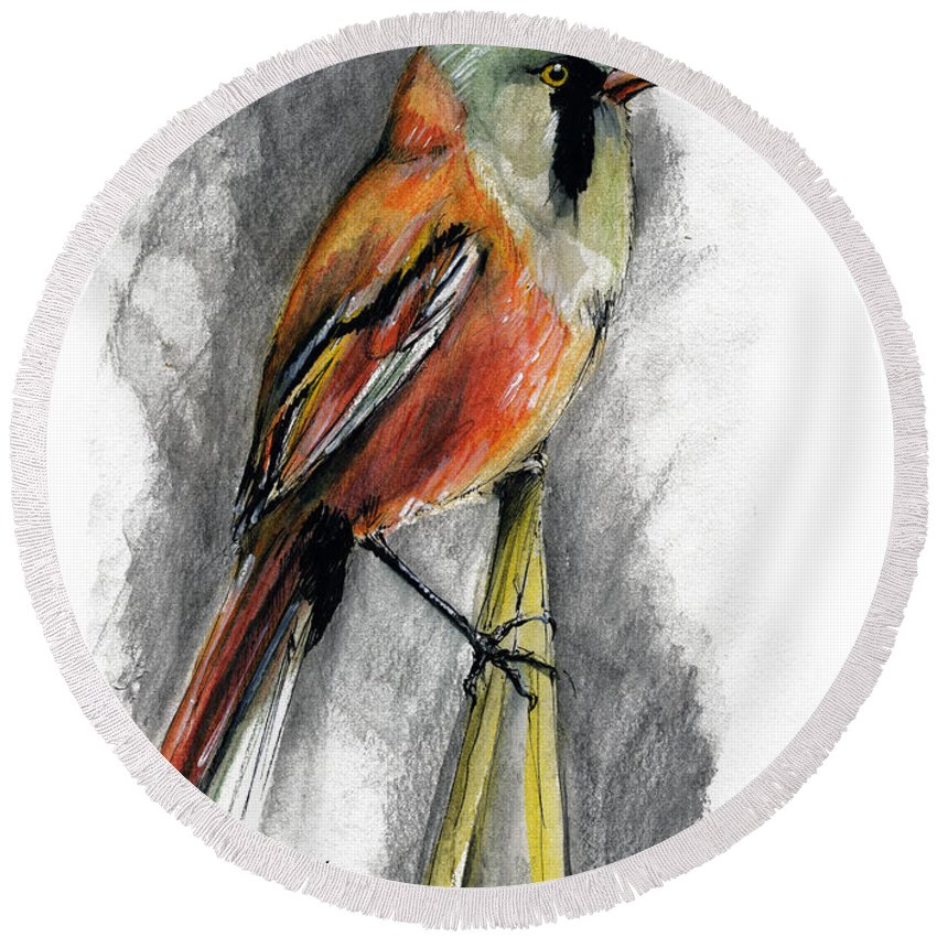 Bird Round Beach Towel featuring the painting The Bird by Angel Ciesniarska