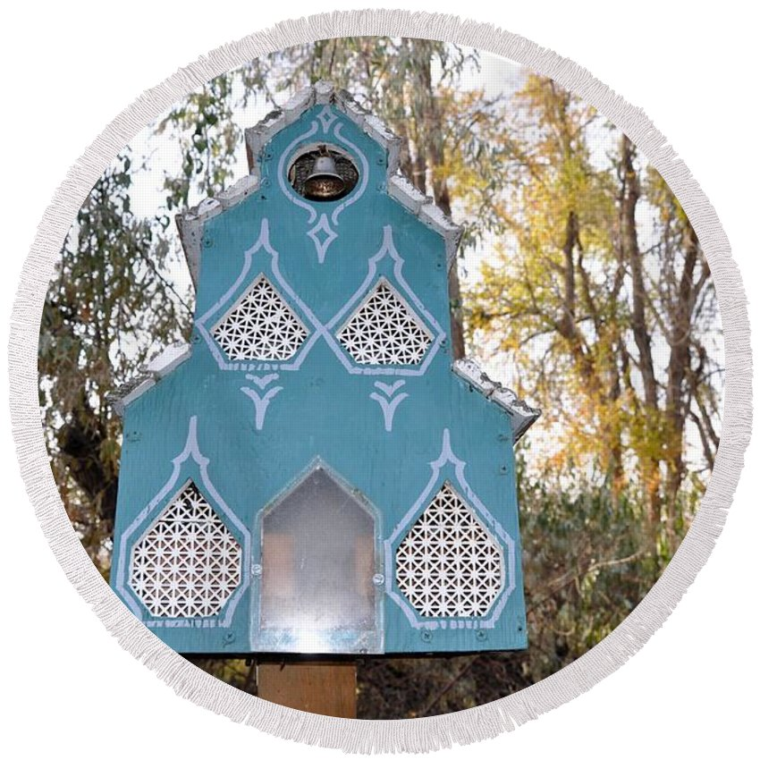 Melba; Idaho; Birdhouse; Shelter; Outdoor; Fall; Autumn; Leaves; Plant; Vegetation; Land; Landscape; Tree; Branch; House; Round Beach Towel featuring the photograph The Birdhouse Kingdom - Black-capped Chickadee by Image Takers Photography LLC - Carol Haddon