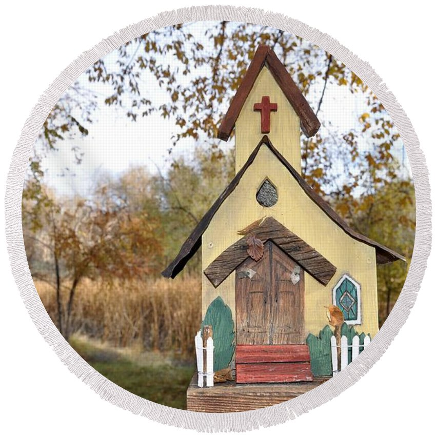 Melba; Idaho; Birdhouse; Shelter; Outdoor; Fall; Autumn; Leaves; Plant; Vegetation; Land; Landscape; Tree; Branch; House; Cross; Round Beach Towel featuring the photograph The Birdhouse Kingdom - Lazuli Bunting by Image Takers Photography LLC - Carol Haddon