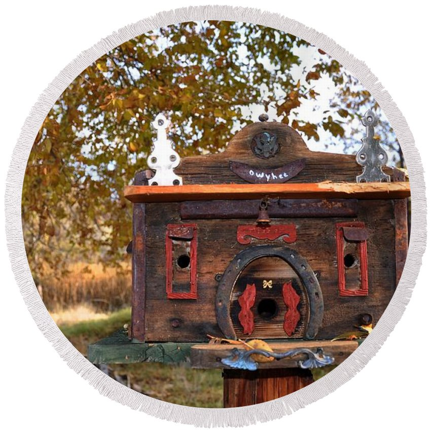 Melba; Idaho; Birdhouse; Shelter; Outdoor; Fall; Autumn; Leaves; Plant; Vegetation; Land; Landscape; Tree; Branch; House; Round Beach Towel featuring the photograph The Birdhouse Kingdom - Red-naped Sapsucker by Image Takers Photography LLC - Carol Haddon