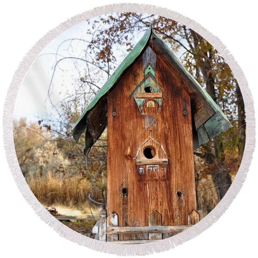 Melba; Idaho; Birdhouse; Shelter; Outdoor; Fall; Autumn; Leaves; Plant; Vegetation; Land; Landscape; Tree; Branch; House; Cross; Round Beach Towel featuring the photograph The Birdhouse Kingdom - Spotted Towhee by Image Takers Photography LLC - Carol Haddon