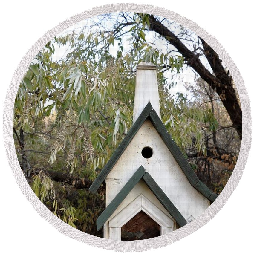 Melba; Idaho; Birdhouse; Shelter; Outdoor; Fall; Autumn; Leaves; Plant; Vegetation; Land; Landscape; Tree; Branch; House; Round Beach Towel featuring the photograph The Birdhouse Kingdom - The Pileated Woodpecker by Image Takers Photography LLC - Carol Haddon