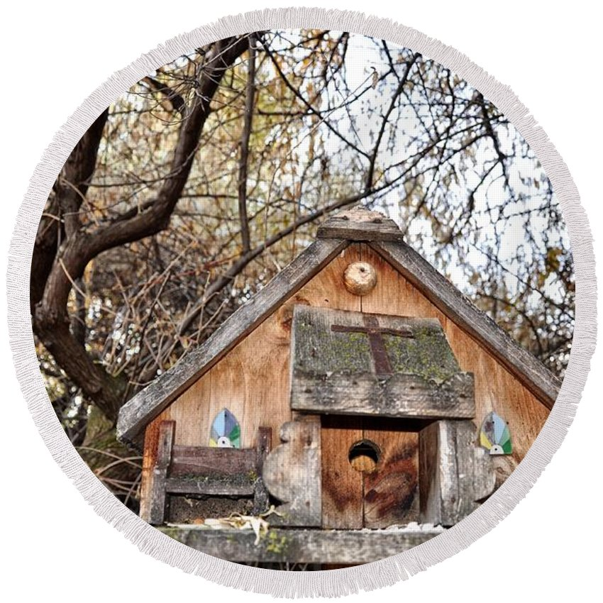 Melba; Idaho; Birdhouse; Shelter; Outdoor; Fall; Autumn; Leaves; Plant; Vegetation; Land; Landscape; Tree; Branch; House; Cross; Round Beach Towel featuring the photograph The Birdhouse Kingdom - The Purple Martin by Image Takers Photography LLC - Carol Haddon