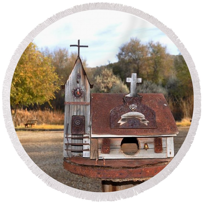Melba; Idaho; Birdhouse; Shelter; Outdoor; Fall; Autumn; Leaves; Plant; Vegetation; Land; Landscape; Tree; Branch; House; Cross; Round Beach Towel featuring the photograph The Birdhouse Kingdom - The Barn Swallow by Image Takers Photography LLC