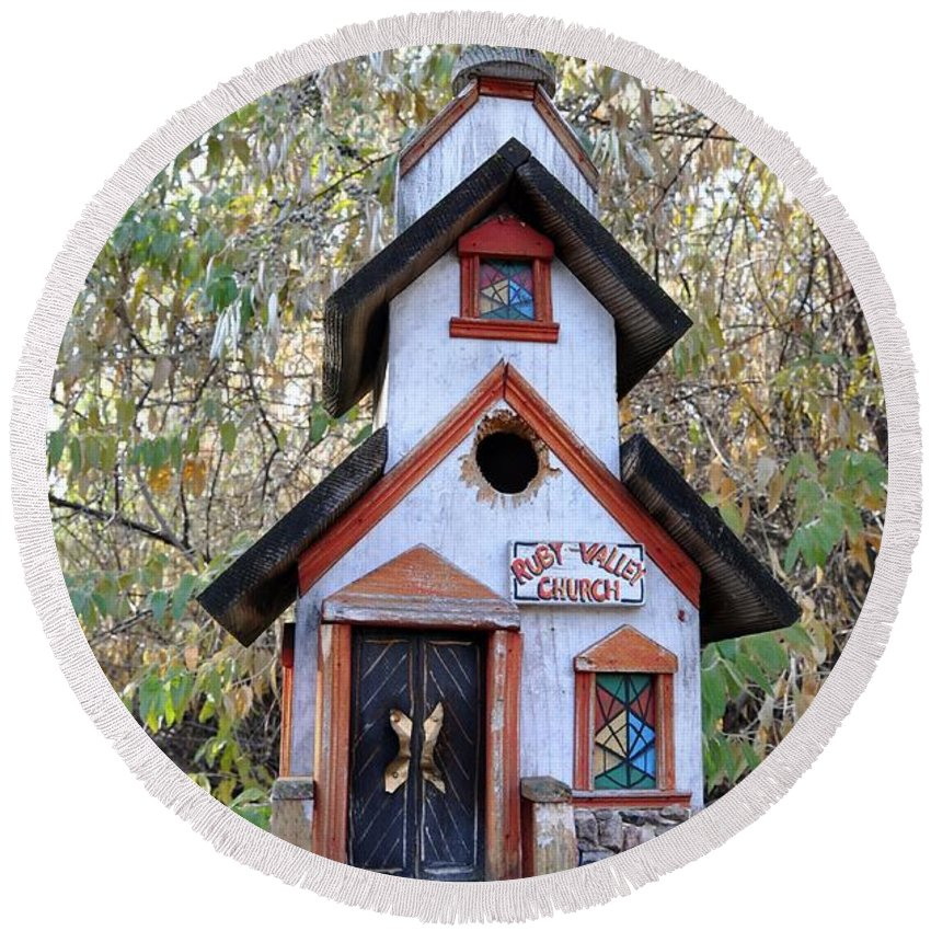 Melba; Idaho; Birdhouse; Shelter; Outdoor; Fall; Autumn; Leaves; Plant; Vegetation; Land; Landscape; Tree; Branch; House; Round Beach Towel featuring the photograph The Birdhouse Kingdom -the Pygmy Nuthatch by Image Takers Photography LLC - Carol Haddon
