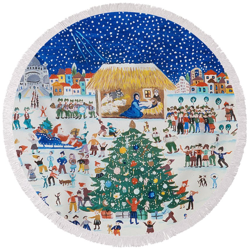 Christmas Round Beach Towel featuring the painting The Birth Of Christ by Gordana Delosevic