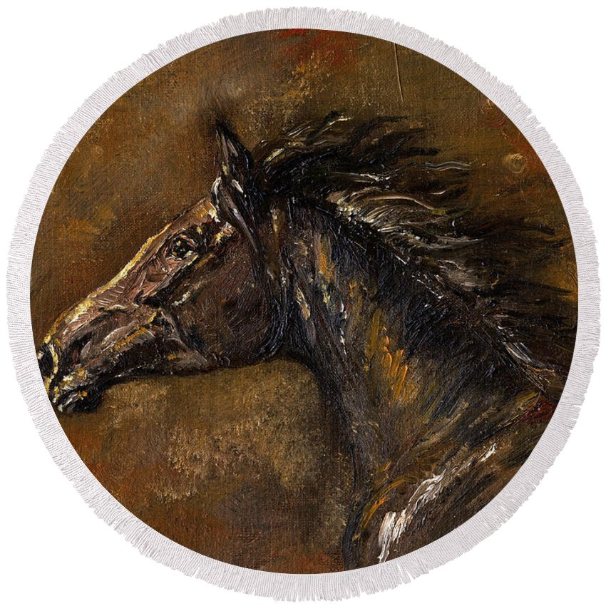 Horse Round Beach Towel featuring the painting The Black Horse Oil Painting by Angel Ciesniarska