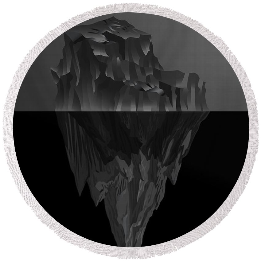 'black On Black' Collection By Serge Averbukh Round Beach Towel featuring the digital art The Black Iceberg by Serge Averbukh