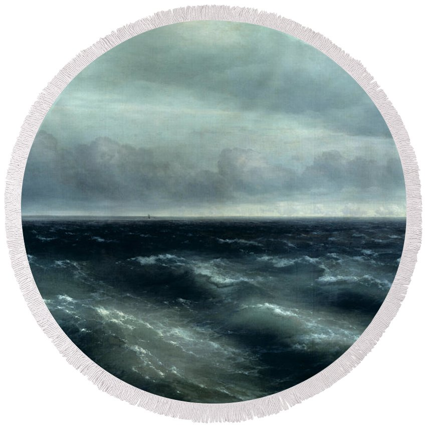 Sea Round Beach Towel featuring the painting The Black Sea by Ivan Konstantinovich Aivazovsky