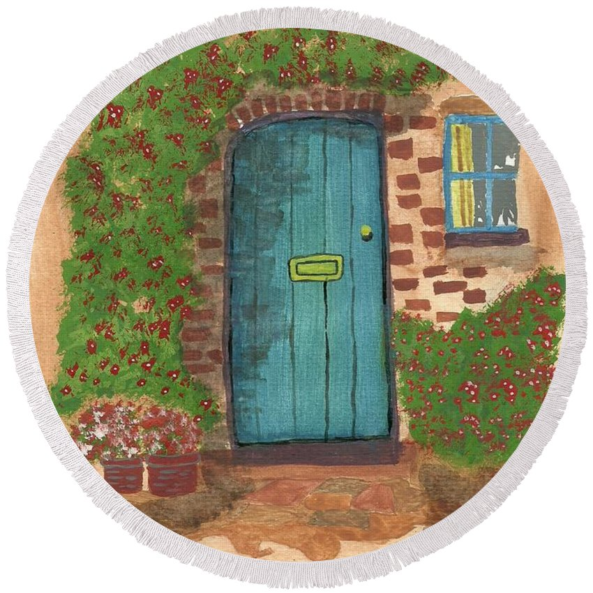 Blue Door Round Beach Towel featuring the painting The Blue Door by John Williams