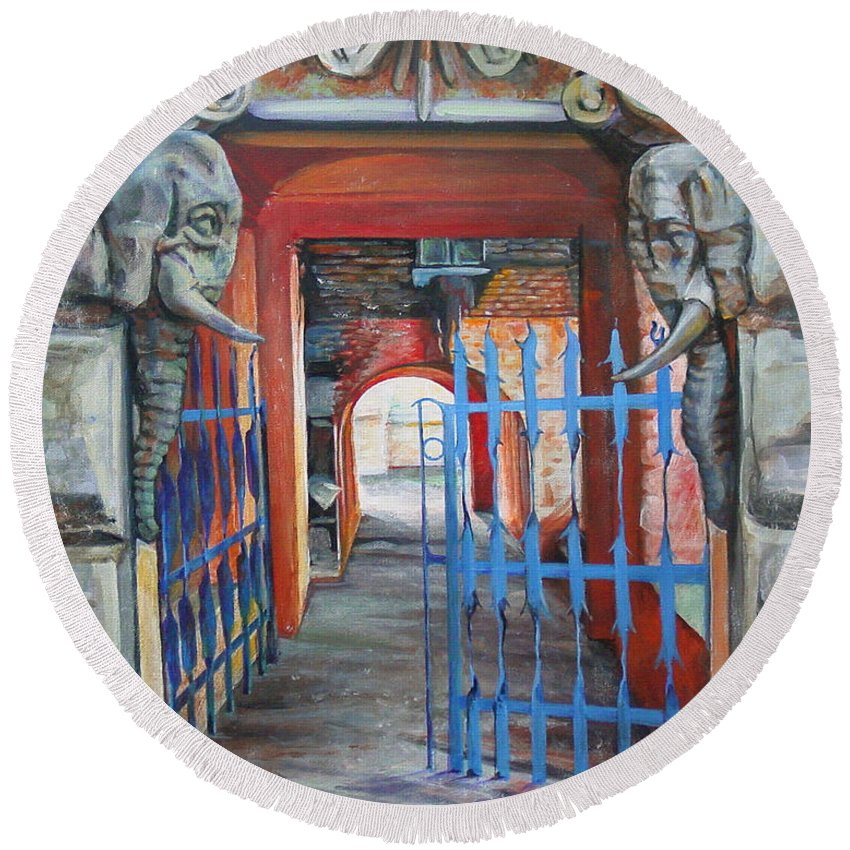 City Round Beach Towel featuring the painting The Blue Gate by Marina Gnetetsky