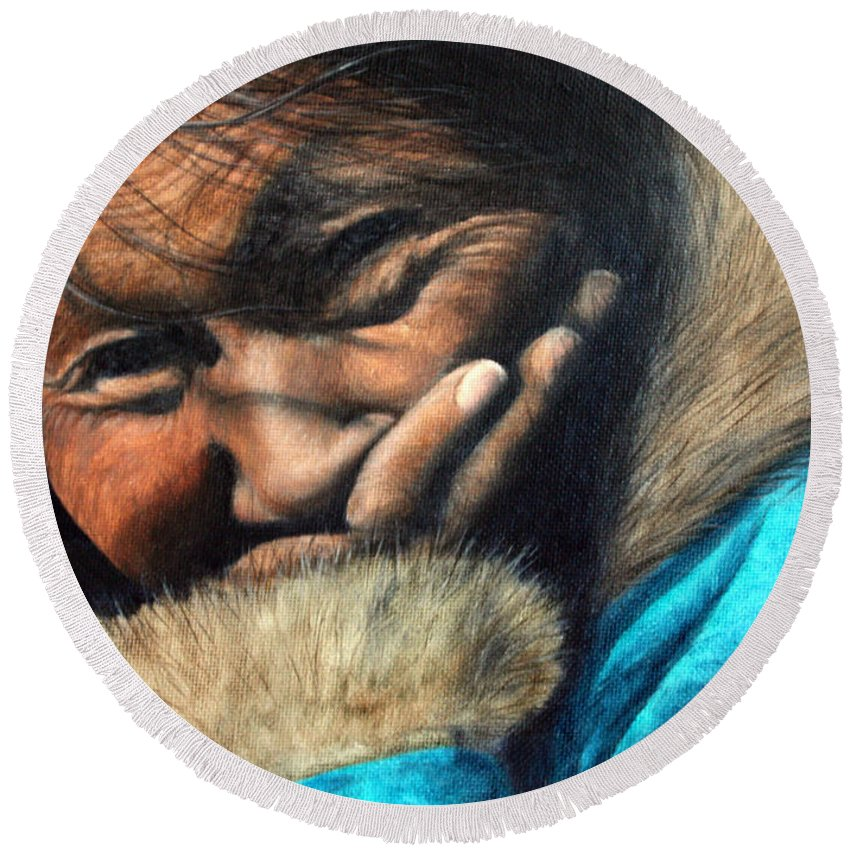 Inuit Round Beach Towel featuring the painting The Blue Parka by Joey Nash
