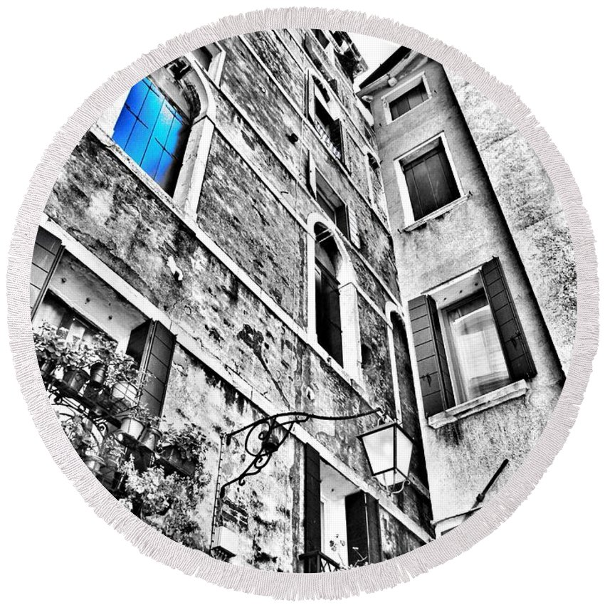 Blue Round Beach Towel featuring the photograph The Blue Window In Venice - Italy by Marianna Mills