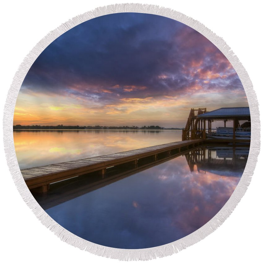 Boats Round Beach Towel featuring the photograph The Boathouse by Debra and Dave Vanderlaan