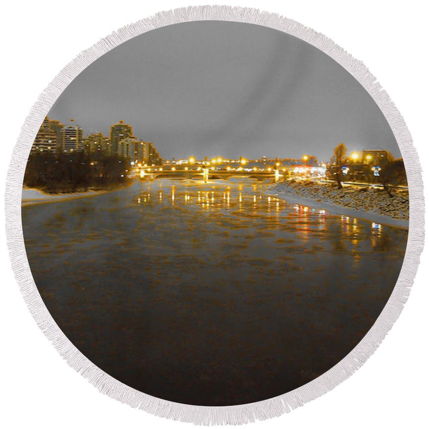 Bow River Round Beach Towel featuring the photograph The Bow River by David Pantuso