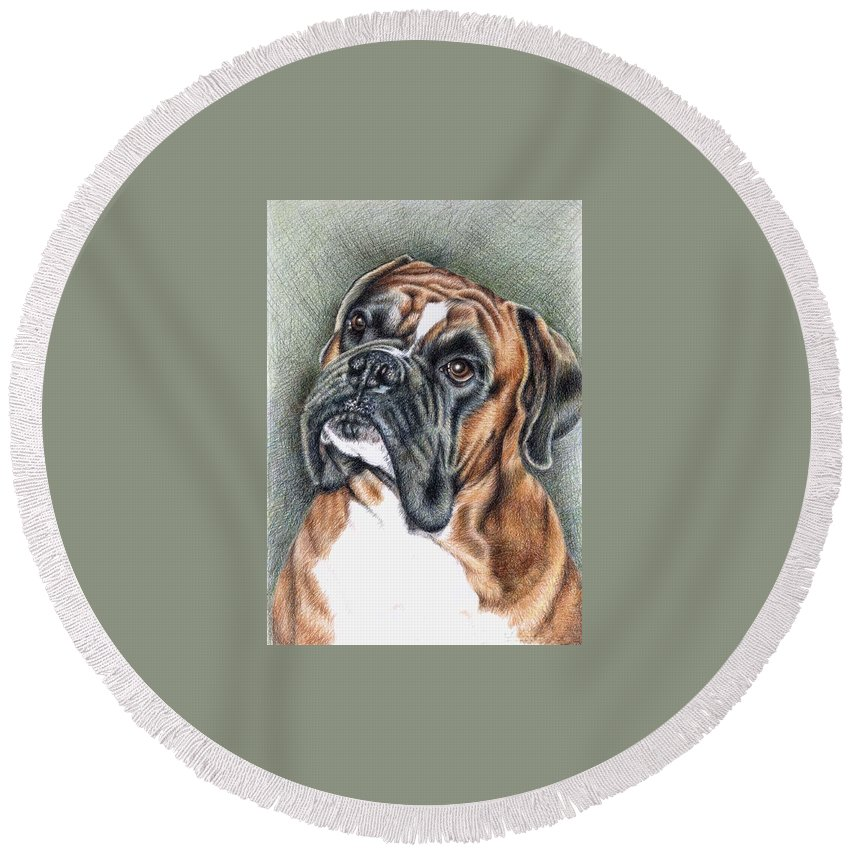 Dog Round Beach Towel featuring the drawing The Boxer by Nicole Zeug