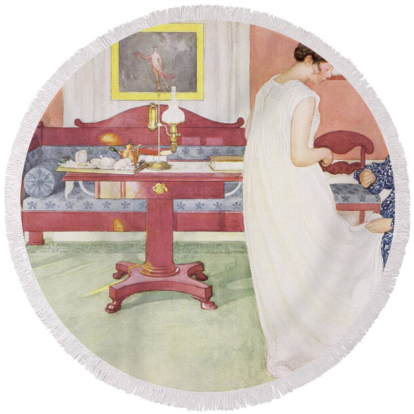 Dress Fitting Round Beach Towel featuring the painting The Bridesmaid, Pub. In Lasst Licht by Carl Larsson