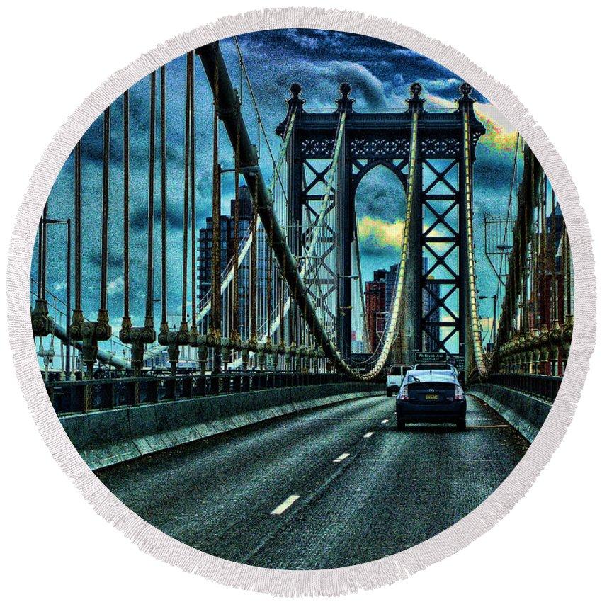 Manhattan Bridge Round Beach Towel featuring the photograph The Bridge by George Fredericks