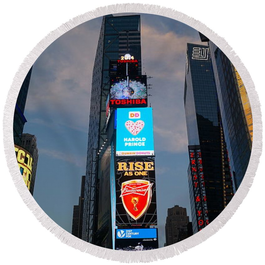 Times Round Beach Towel featuring the photograph The Bright Lights Of Times Square by John Wall