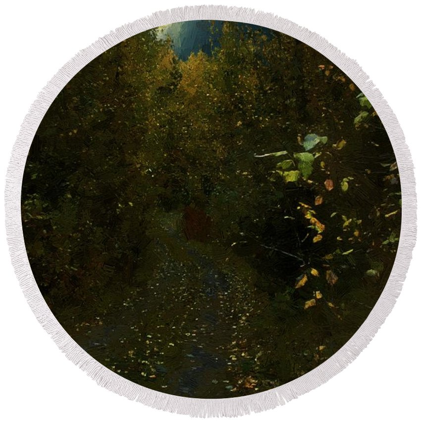 Autumn Round Beach Towel featuring the painting The Brilliance Of The Corn Moon by RC DeWinter