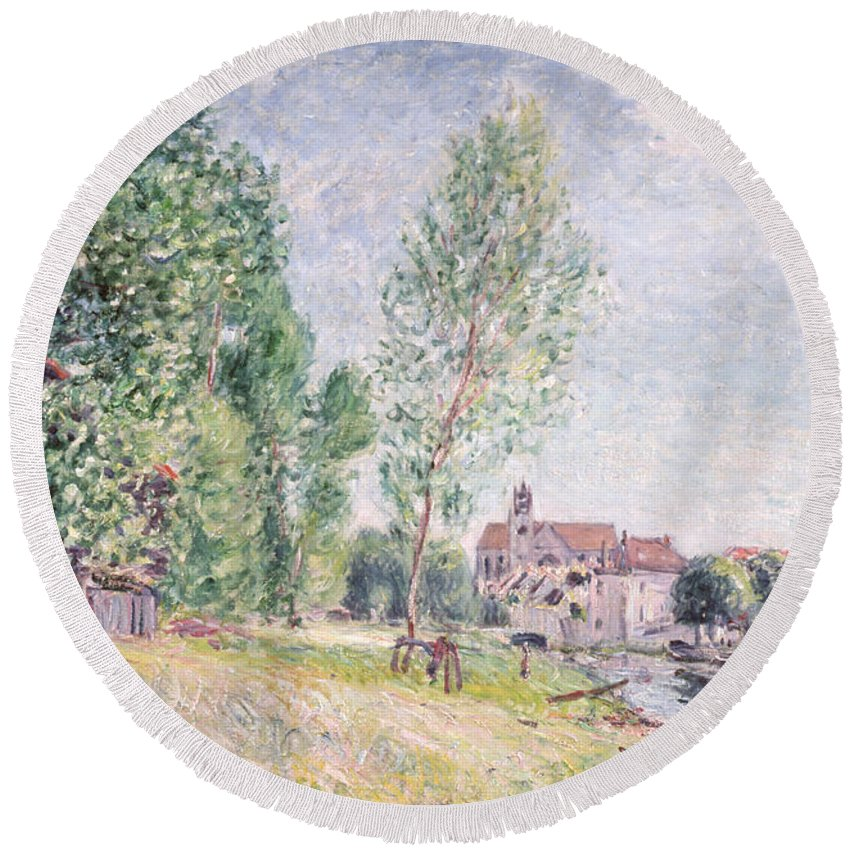 Impressionist; Landscape Round Beach Towel featuring the painting The Builder's Yard At Matrat Moret-sur-loing by Alfred Sisley